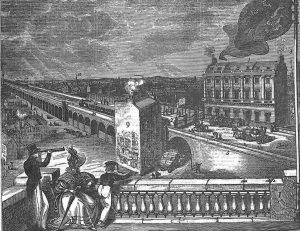 """""""London Bridge Viaduct"""" (1836) The London and Greenwich Railway terminus in London was one of the earliest used elevated railway line. Source: Bell's Life in London and Sporting Chronicle; 30 October 1836"""