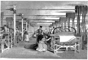 1835 Power Loom Weaving was a common occupation amongst women during the Industrial Revolution. This image is an example of an average cotton factory at this time.